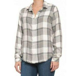 Cloth & Stone Gray Plaid Hi Lo Frayed Hem Shirt